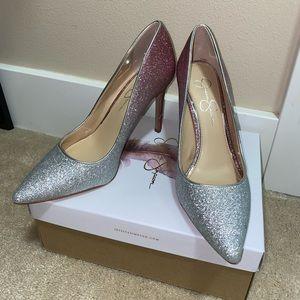 Jessica Simpson pink white glitter pumps heels